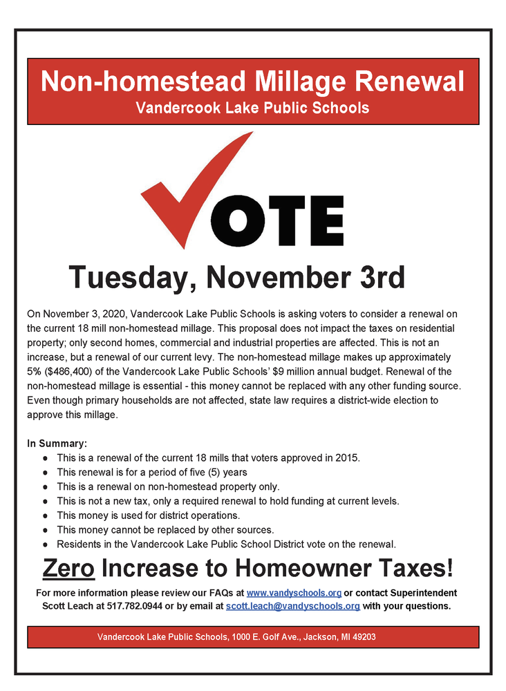 All you need to know about Vandercook Lake's non-homestead millage renewal