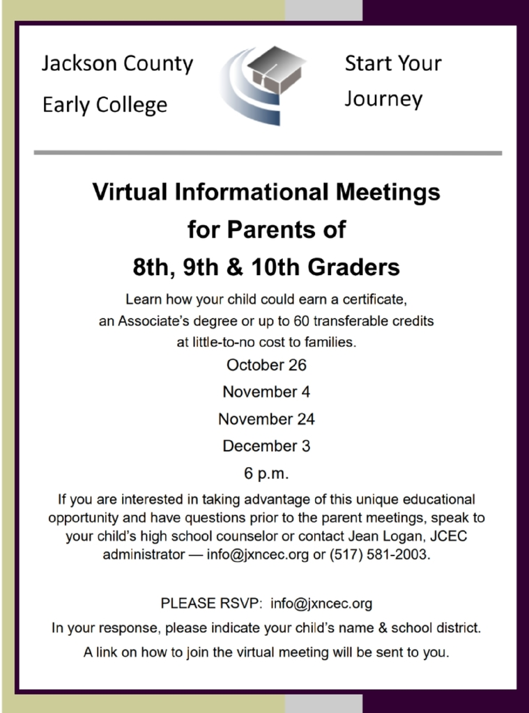 JCEC Informational meeting dates