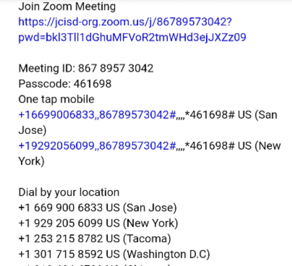 zoom meeting information