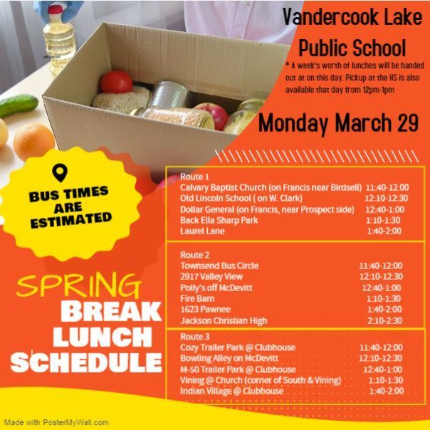 Spring break lunch schedule