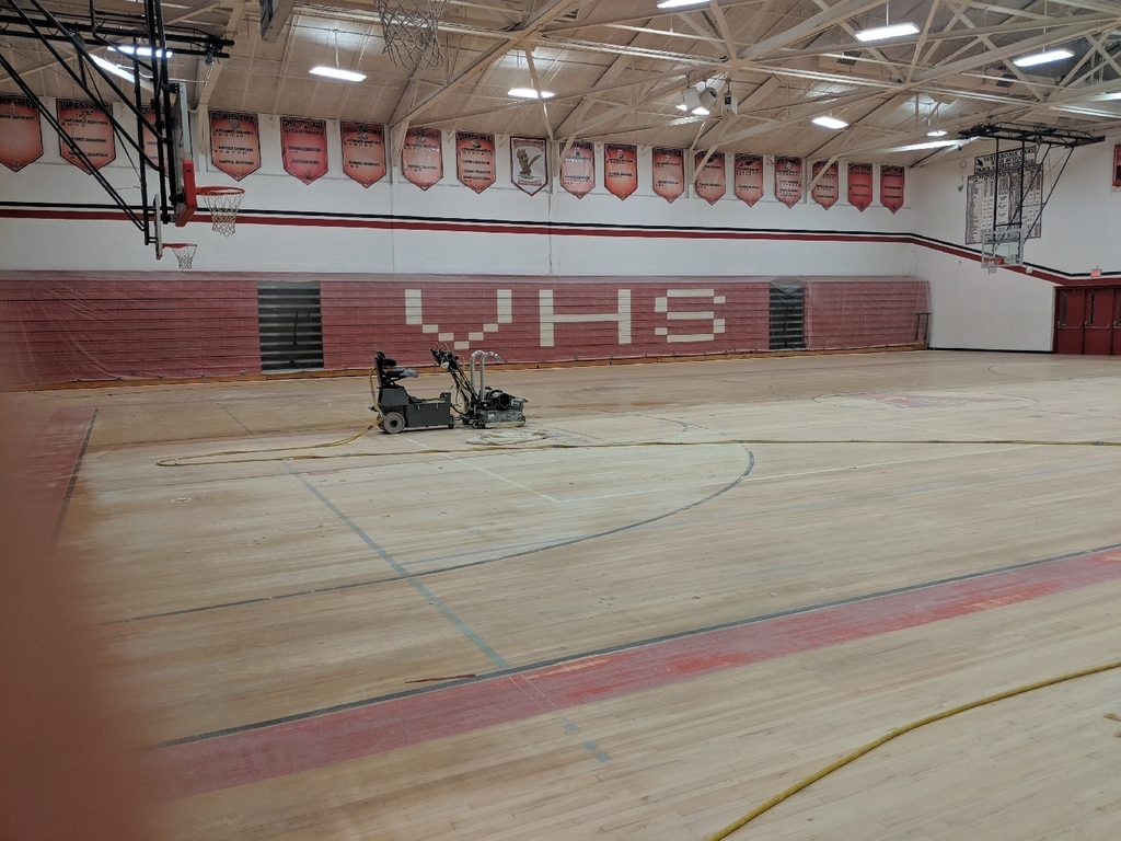 Sanding of high school gym floor 2