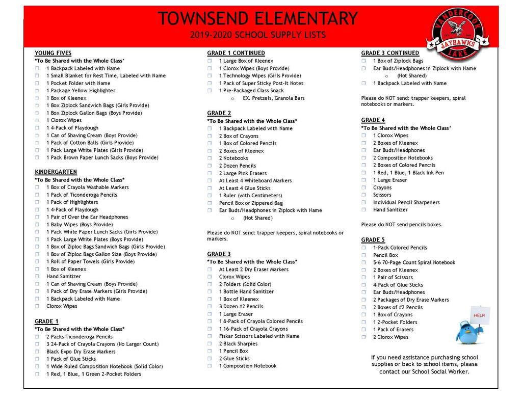 Townsend Supply List