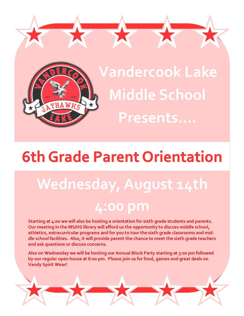 6th Grade Student/Parent Orientation