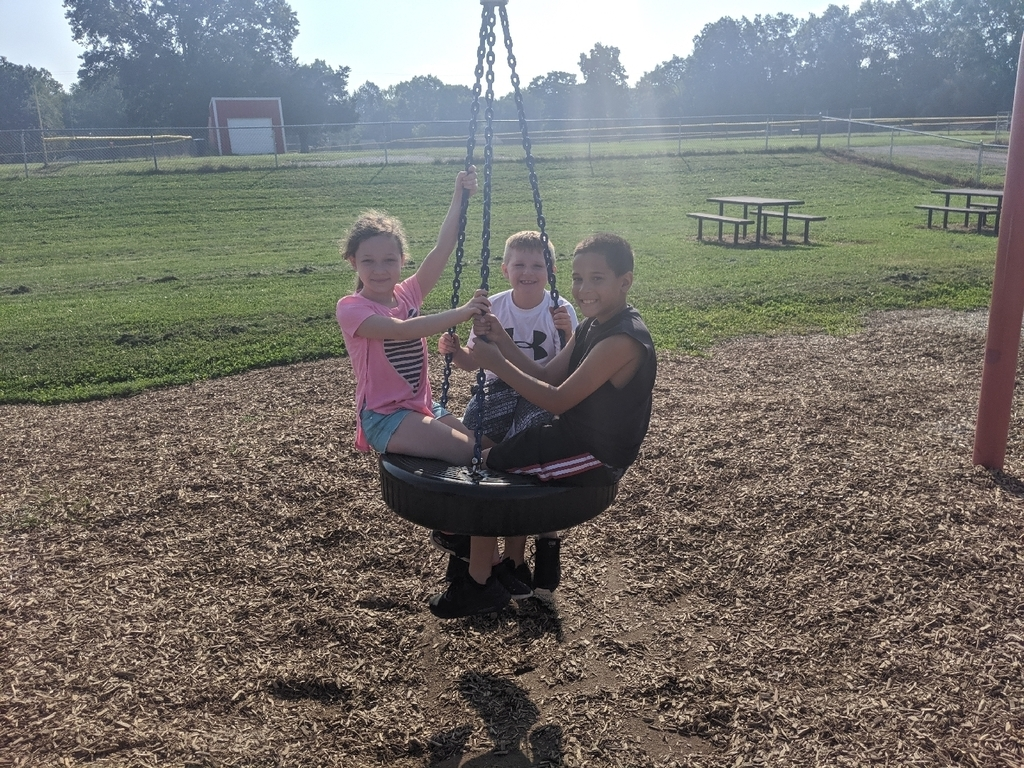 students on tire swing