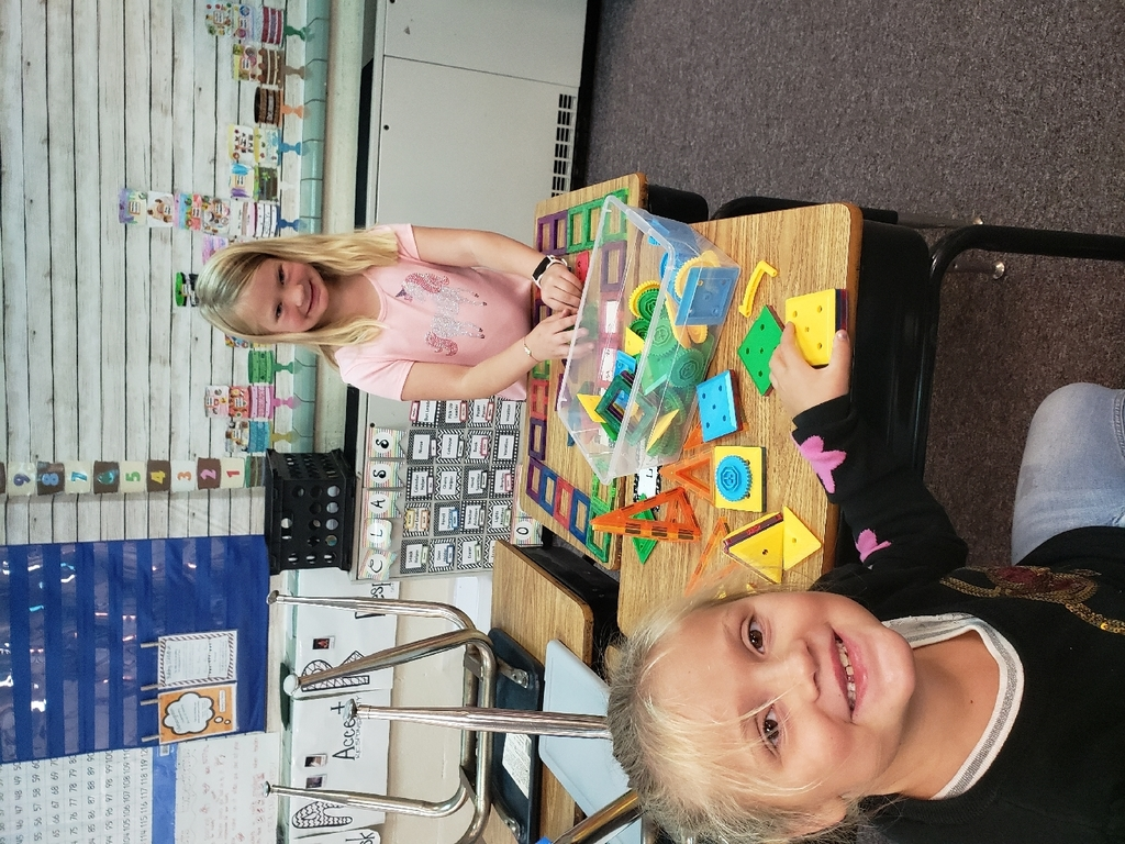 Lily and Emma are working together to build with magnet tiles.