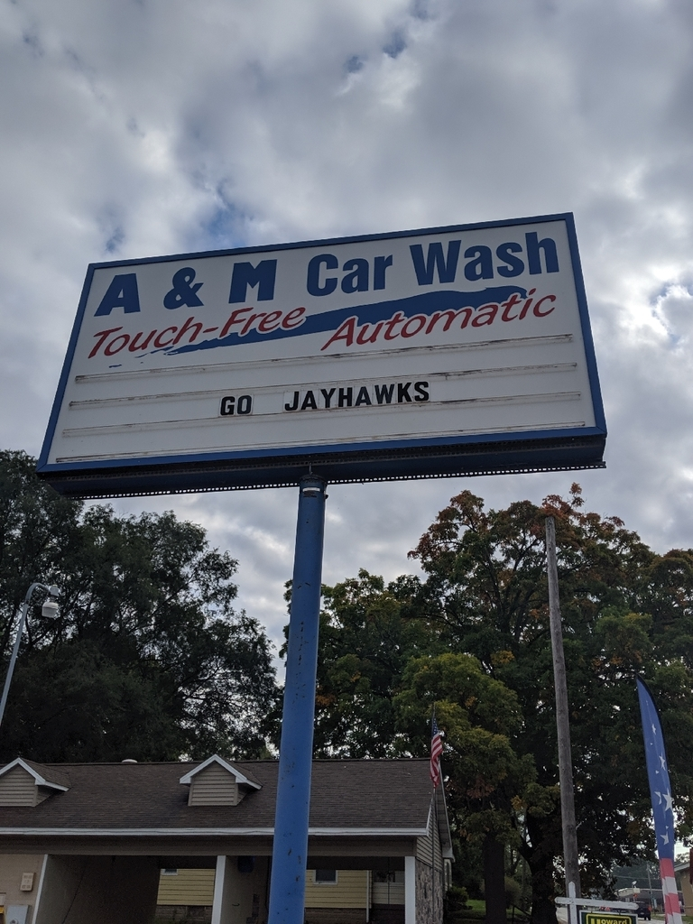 A & A Car Wash sign Go Jayhawks