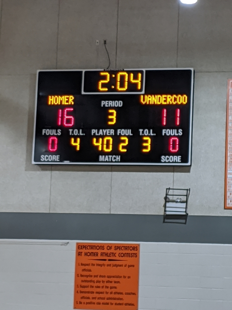 halftime score at Homer