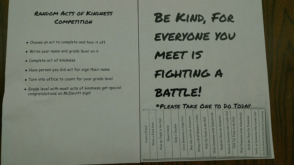 Random Acts of Kindness competition