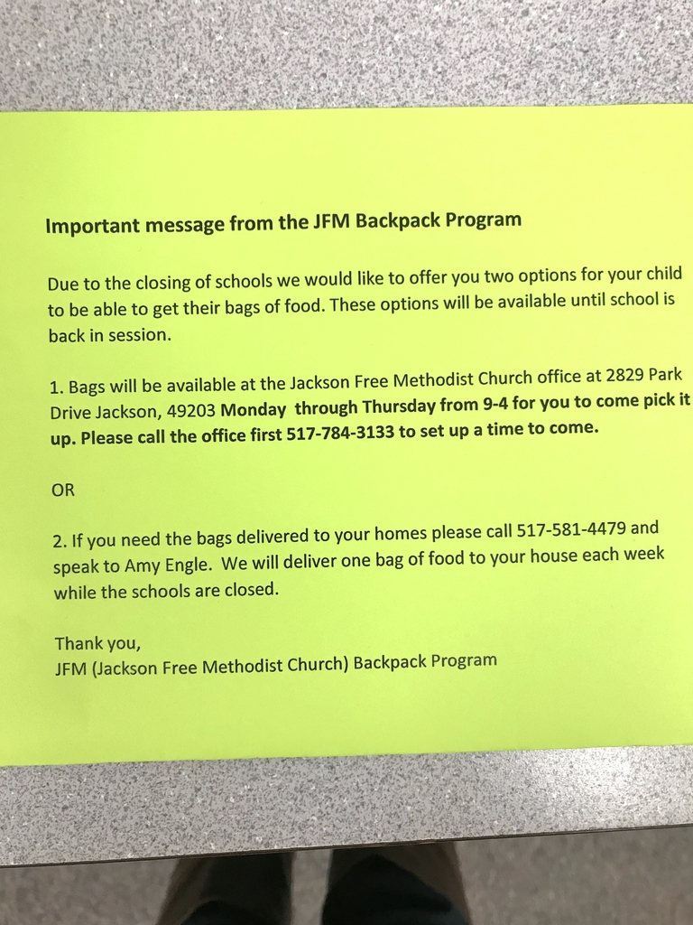 Important notice for Townsend Back Pack students