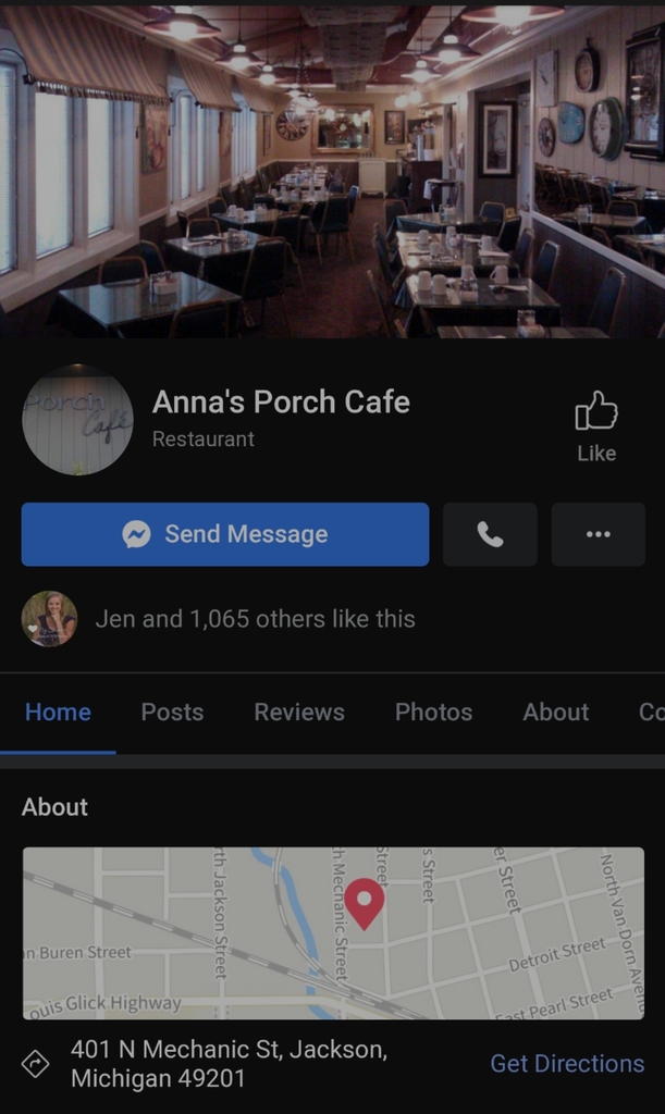 Anna's Porch Cafe Facebook page