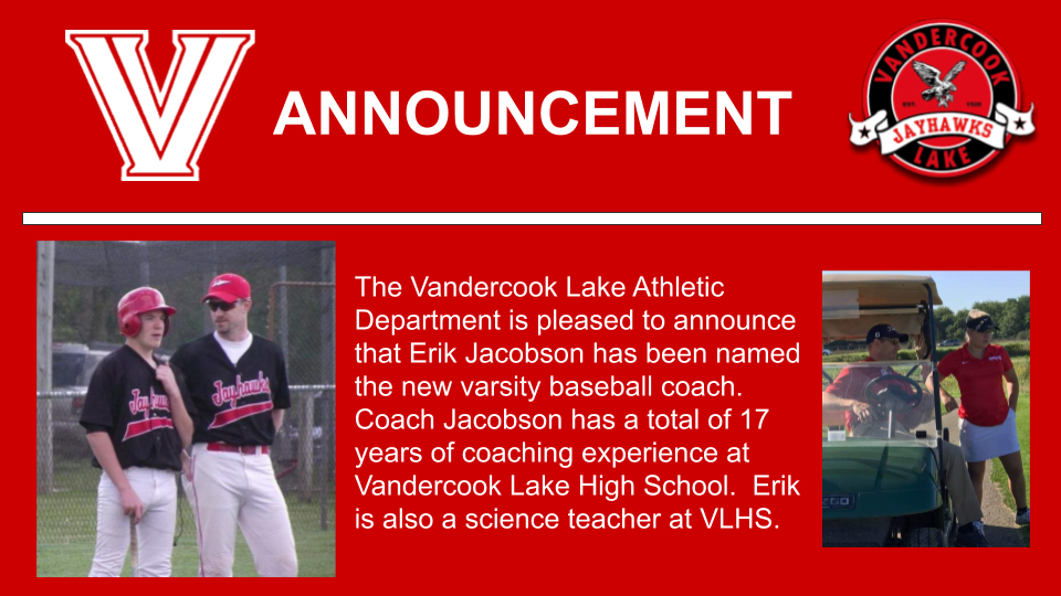 Jacobson hired as new baseball coach.