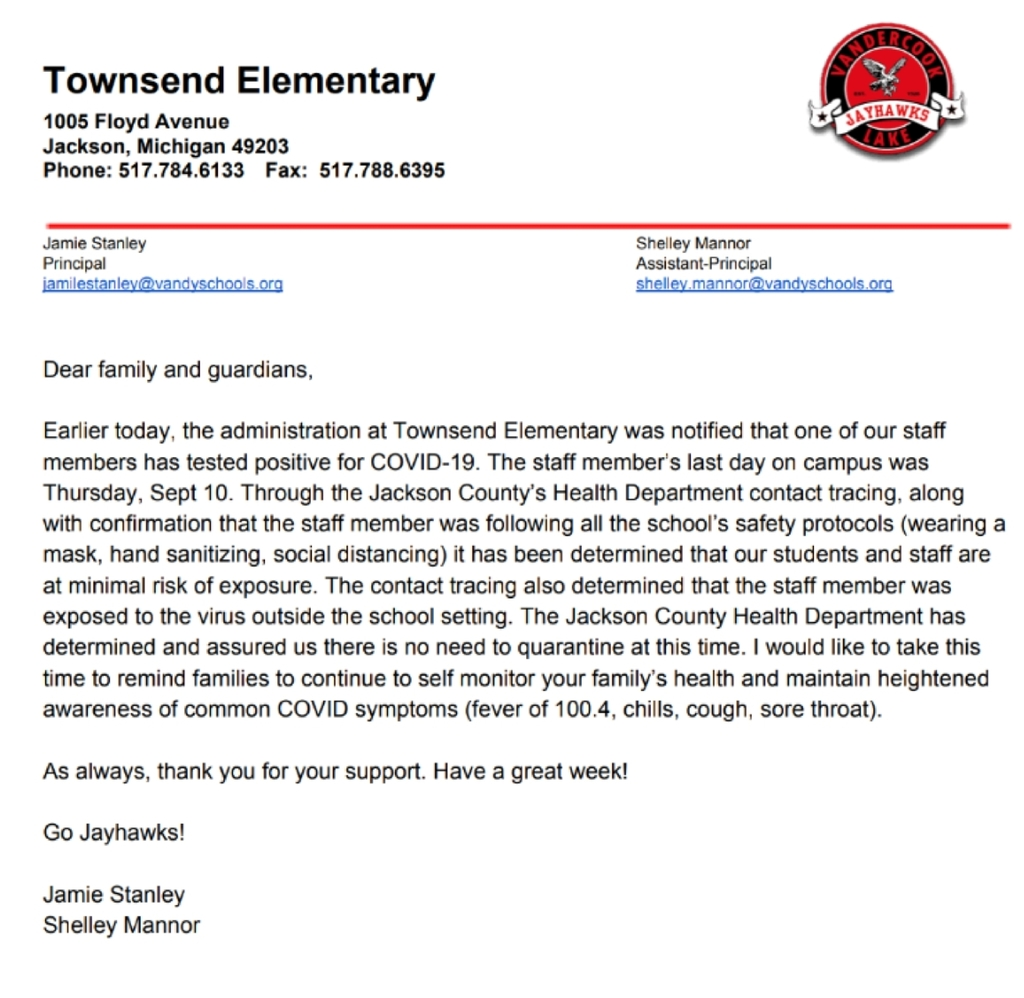 Townsend COVID letter